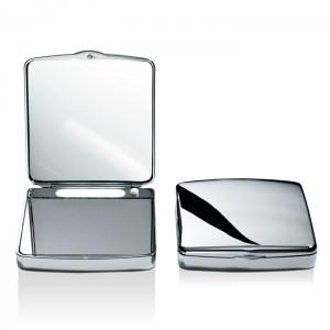Косметическое зеркало 9.5x10x2.5см, карманное, с подсветкой, увел. 7x, цвет: хром Decor Walther TS 1 0118400