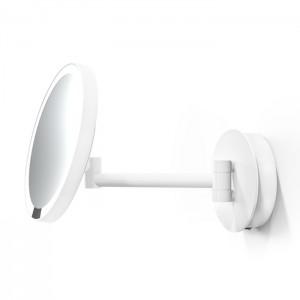 Косметическое зеркало 21.5см, подвесное, увел. 5x, подсветка LED, цвет: белый матовый Decor Walther Round Just Look WR 0122350