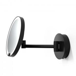 Косметическое зеркало 21.5см, подвесное, увел. 5x, подсветка LED, цвет: черный матовый Decor Walther Round Just Look WR 0122360