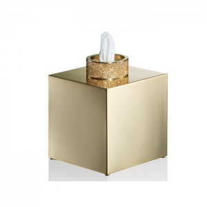 Диспенсер для салфеток 13x13x15.6см, с кристаллами Swarovski, цвет: золото матовое Decor Walther Rocks KB 0934482