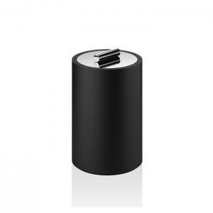 Баночка универсальная 16x10см, с крышкой, цвет: черный матовый / хром Decor Walther Black Stone DMD L 0971464