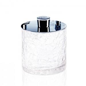 Баночка универсальная, с крышкой, французское стекло Craquele, цвет: хром Decor Walther Crack DMD 0933200