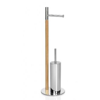 Стойка с ершиком и держателем для туалетной бумаги хром Andrea House BA15136