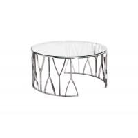 Стол журнальный с прозрачным стеклом (хром) 13RXCT3104-SILVER