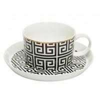 Чайная пара черно-белый орнамент Garda Decor 26FC VANITY CUPS-1 250BL