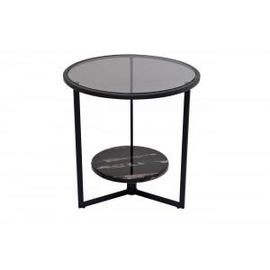 Столик журнальный круглый с темным стеклом 57EL-ET181B
