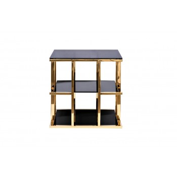 Стол журнальный с черным стеклом (золотой) Garda Decor 46AS-ET4752-GOLD