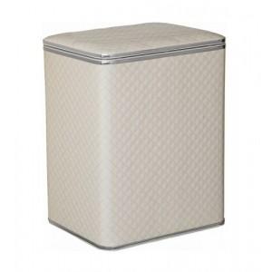 Корзина для белья белая стеганная малая Cameya WHC-M с хромированной окантовкой