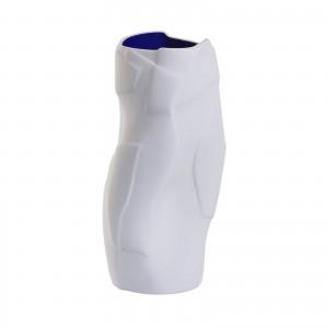 Ваза керамическая (матовый белый снаружи матовый синий внутри) PS61-32