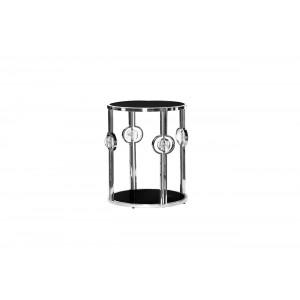 Журнальный столик с черным стеклом (серебряный) 13RXET6034-SILVER