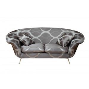 Диван двухместный с подушками (серый рисунок) L-01502