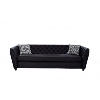 Диван трехместный черный (с подушками) ZW-52803