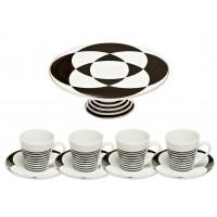 Набор кофейных чашек с тортовницей Набор посуды №10