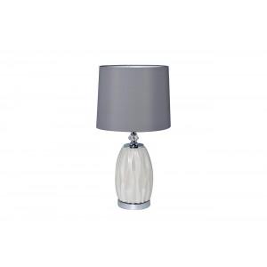 Лампа настольная из белого стекла (серый абажур) 22-87755