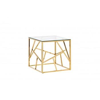 Столик журнальный квадратный с прозрачным стеклом (цвет золото) 47ED-ET015GOLD