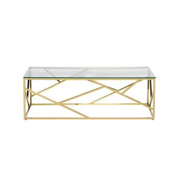 Стол журнальный с прозрачным стеклом (цвет золото) 47ED-СT015GOLD
