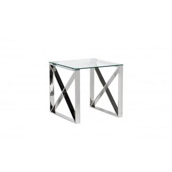 Столик журнальный квадратный с прозрачным стеклом (цвет хром) 47ED-ET008