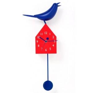 """Часы настенные """"Домик с птицей"""" красно-синие Kare 35634"""