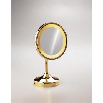 Зеркало настольное с подсветкой (желтый свет) 2-х кратное увеличение WINDISCH 99251O Gold