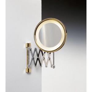 Зеркало подвесное с подсветкой (желтый свет) на держателе-гармошка 2-х кратное хром/золото WINDISCH 99158CRO