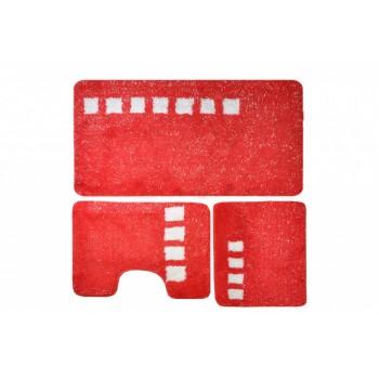 Комплект ковриков для ванной с серебряным люрексом 3 предмета PRIMANOVA D-15237 Roma (красный)