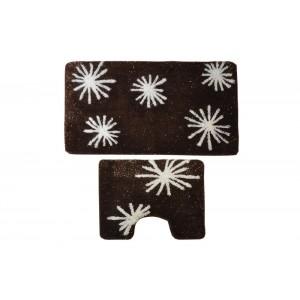 Комплект ковриков для ванной с серебряным люрексом 2 предмета PRIMANOVA D-18130 Angel (коричневый)