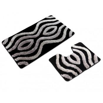 Комплект ковриков для ванной с серебряным люрексом 2 предмета PRIMANOVA D-13527 Planet