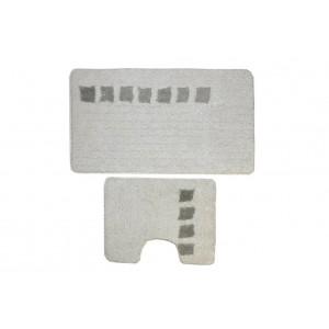 Комплект ковриков для ванной с серебряным люрексом 2 предмета PRIMANOVA D-15241 Roma (белый)