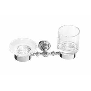 Стакан и мыльница настенные стеклянные прозрачные Cameya H1634