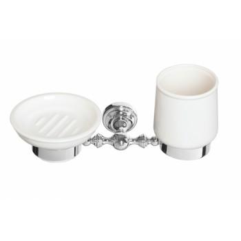 Стакан и мыльница круглая настенные керамические Cameya H1634K