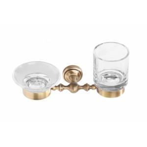 Стакан и мыльница нестенные стеклянные прозрачные Cameya A1634