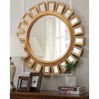Зеркало в круглой раме Эштон голд LouvreHome