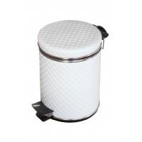 Мусорное ведро с педалью белое стеганое Cameya 03WHC-9 (3л)