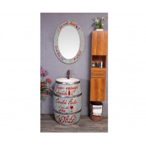 Раковина бочка в комплекте с зеркалом Artik 18719EN