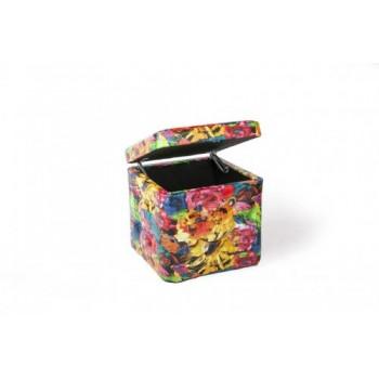 Пуф разноцветный с ящиком 333-04К инфинити 193 желто-красный
