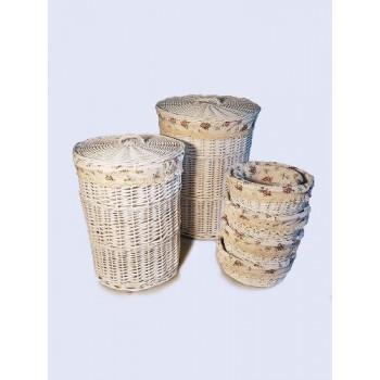 Корзина для белья плетеная №2 KT03W S/10 белая малая