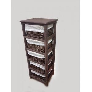 Этажерка деревянная с пятью плетеными ящиками B14-3805 PC коричневая