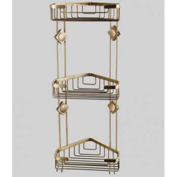 Полка трехъярусная угловая для ванной комнаты бронза GUS 991020
