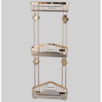 Полка трехъярусная угловая для ванной комнаты золото GUS 991030
