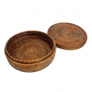 Круглая плетеная шкатулка №1 BOX-20 Br коричневая
