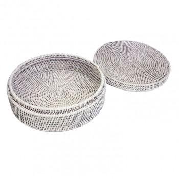 Круглая плетеная шкатулка №1 BOX-20 W белая