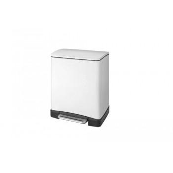 Ведро для мусора с педалью 12 литров прямоугольное E-Cube Primanova D-15297 белое