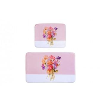 Коврик для ванной с эффектом памяти комплект 2 шт Pink-Flower D-20103 розовый