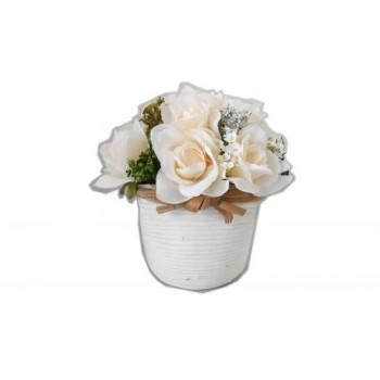 """Искусственные цветы """"Французские чайные розы (13 шт.) в кашпо под бамбук"""" D-D70061"""