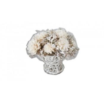 """Искусственные цветы """"Цинии в плетеном кашпо из ротанга 20 см"""" D-D70065"""