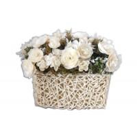 """Искусственные цветы """"Ранункулюс белый в плетеном кашпо из ротанга"""" D-D70066"""