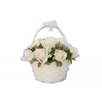 """Искусственные цветы """"Розы в плетеной корзине из бамбука"""" D-D70067"""