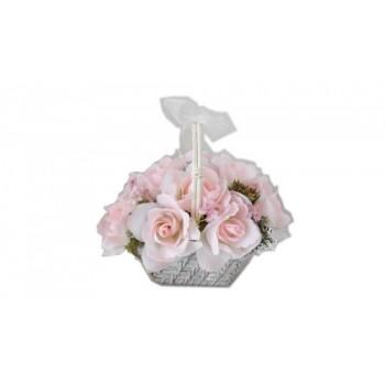 """Искусственные цветы """"Розовые розы в корзине из ротанга"""" D-D70070"""