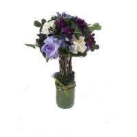 """Искусственные цветы """"Букет из фиолетовых роз в горшке"""" D-D70094"""
