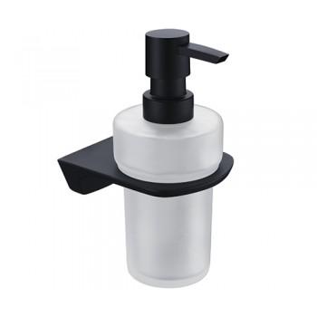 Дозатор для жидкого мыла настенный черный Wasserkraft Elbe K-7299